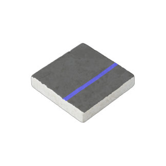 The Symbolic Thin Blue Line on a black decor Stone Magnets