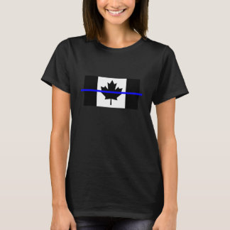 The Symbolic Thin Blue Line on Canadian Flag T-Shirt