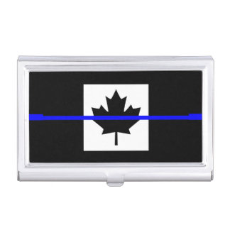 The Symbolic Thin Blue Line on Canadian Maple Leaf Business Card Cases