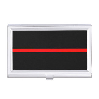 The Symbolic Thin Red Line Horizontal Black Business Card Holder