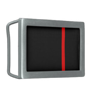 The Symbolic Thin Red Line on a black decor Belt Buckle