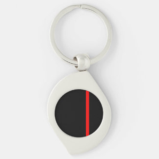The Symbolic Thin Red Line on a black decor Keychain