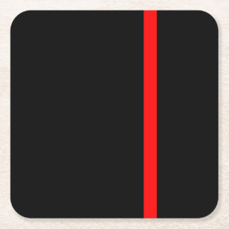 The Symbolic Thin Red Line Vertical Square Paper Coaster