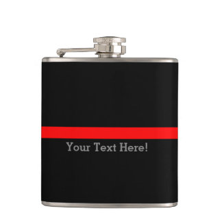 The Symbolic Thin Red Line Your Text on Black Hip Flask