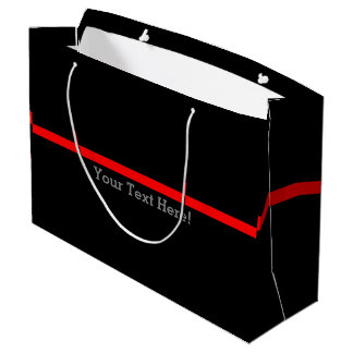 The Symbolic Thin Red Line Your Text on Black Large Gift Bag