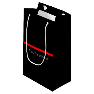 The Symbolic Thin Red Line Your Text on Black Small Gift Bag