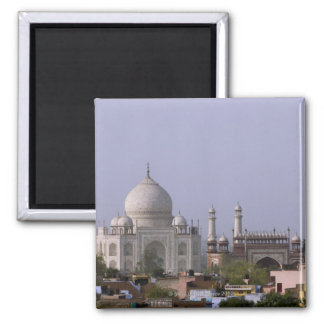 the Taj Mahal dominates the town of Agra Magnet