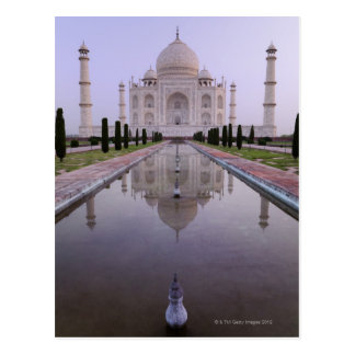 the Taj Mahal perfectly reflected in the pool in Postcard
