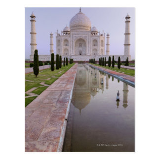 The Taj Mahal perfectly reflected in the still Postcard