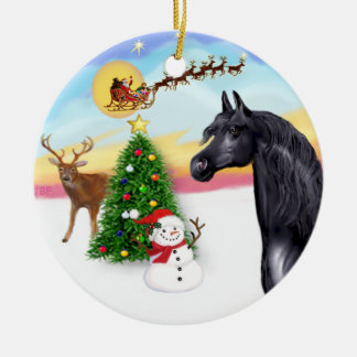 The Take Off - Black Arabian Horse Ceramic Ornament