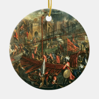 The Taking of Constantinople (oil on canvas) Round Ceramic Ornament