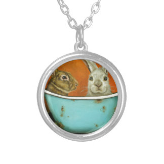 The Tale Of Two bunnies Silver Plated Necklace