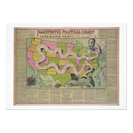 The Tapeworm Party American Political Chart (1888) Invitations