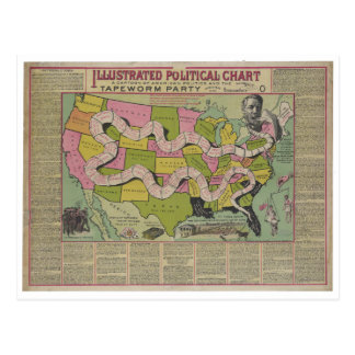 The Tapeworm Party American Political Chart (1888) Postcard