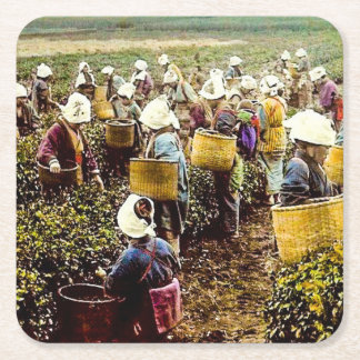 The Tea Pickers of Old Japan Vintage Hand Colored Square Paper Coaster