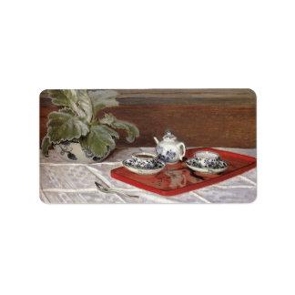 The Tea Set by Claude Monet Address Label