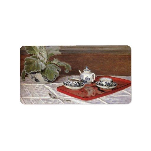 The Tea Set by Claude Monet Custom Address Label