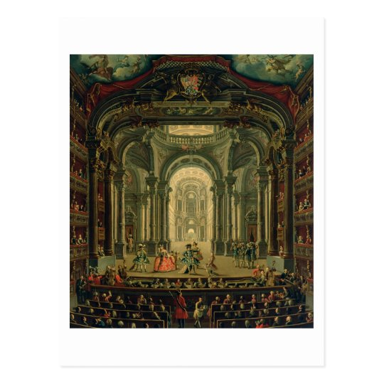 The Teatro Reale in Turin (oil on canvas) Postcard