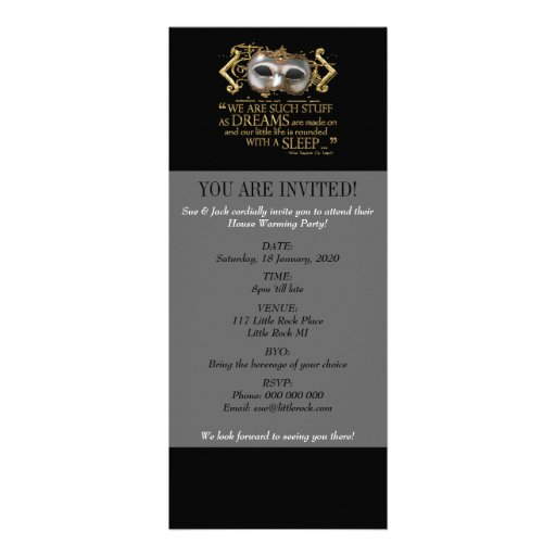 The Tempest Quote (Gold Version) Personalized Invitations