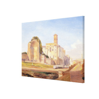 The Temple of Venus and Rome, Rome, 1840 (oil on p Canvas Print