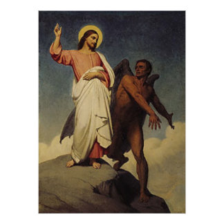 The Temptation of Christ by Ary Scheffer (1854) Poster