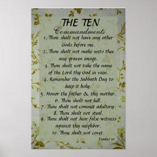 The Ten Commandments bible verse Exodus 20 Posters