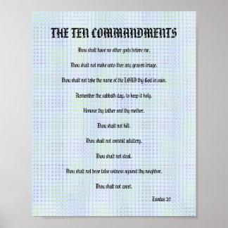 The Ten Commandments - Blue Grid Poster