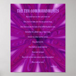 The Ten Commandments - Fuschia Floral Poster