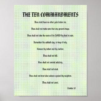 The Ten Commandments - Green Grid Poster