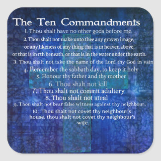 The Ten Commandments Listed Square Sticker