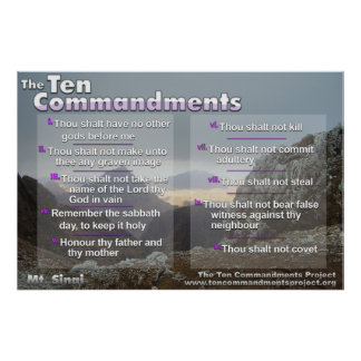 The Ten Commandments on Mt. Sinai Poster
