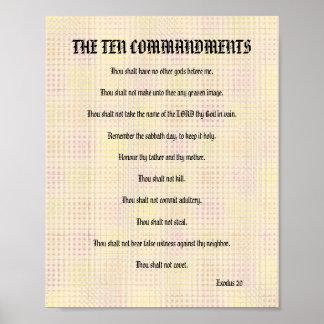 The Ten Commandments - Orange Grid Poster