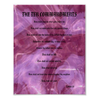 The Ten Commandments - Pink Glass Poster