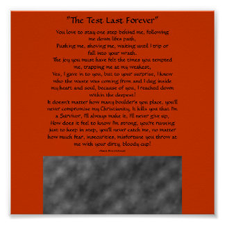 """""""The Test Last Forever"""", You love to...Poster"""