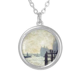 The Thames below Westminster by Claude Monet Silver Plated Necklace