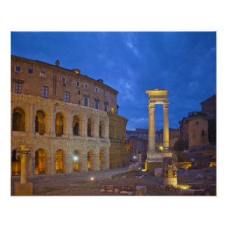 The Theater of Marcellus in Rome at night Poster