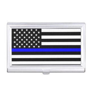 The Thin Blue Line American Flag Decor Business Card Holder
