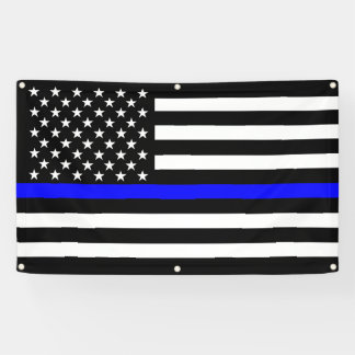 The Thin Blue Line American Flag Decor Display Banner