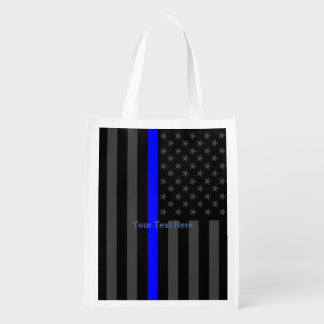 The Thin Blue Line Personalized Black US Flag Deco Reusable Grocery Bag