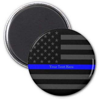 The Thin Blue Line Personalized Word Black US Flag Magnet