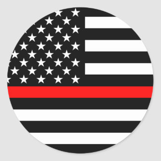 The Thin Red Line American Flag Decor Classic Round Sticker