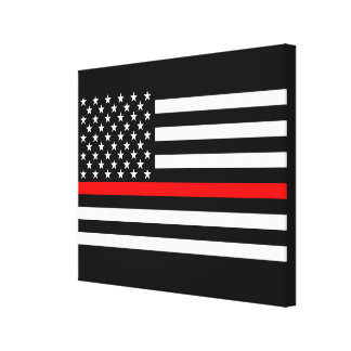 The Thin Red Line American Flag Decor on a Canvas Print