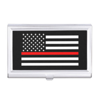 The Thin Red Line American Flag Decor on a Case For Business Cards