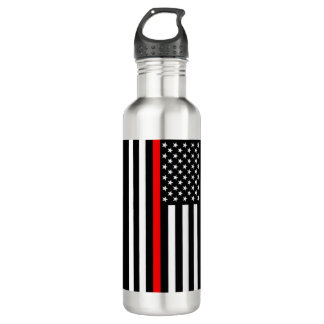 The Thin Red Line American Flag on a 710 Ml Water Bottle