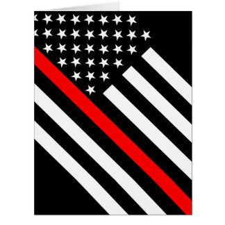 The Thin Red Line Black and White US flag on a Card