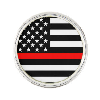 The Thin Red Line Graphic Decor Display on a Lapel Pin