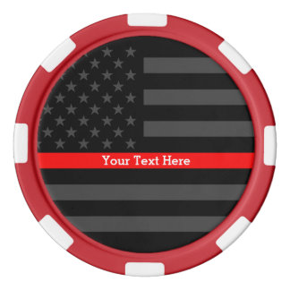 The Thin Red Line Personalized Black US Flag Set Of Poker Chips