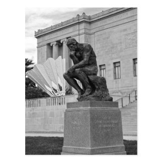 The Thinker and The Shuttlecock, Kansas City B/W Postcard