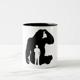 The Thinker -  Gorilla & Man Two-Tone Coffee Mug