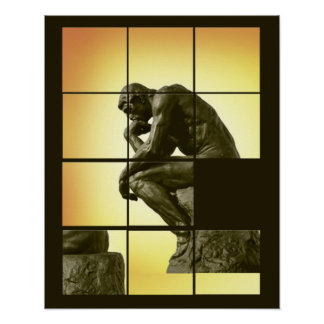 The Thinker, image sliding puzzle game, Le Penseur Poster